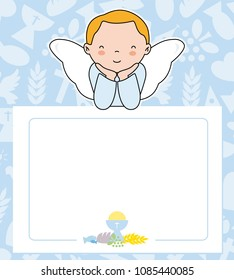 communion card. angel boy with wings on top of poster. space for text