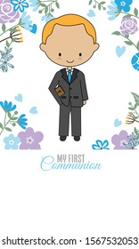 Communion Card. Boy with a bible and flower background
