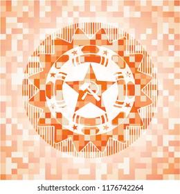 communism icon inside abstract emblem, orange mosaic background
