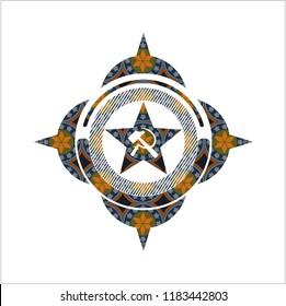 communism icon inside arabic badge background. Arabesque decoration.