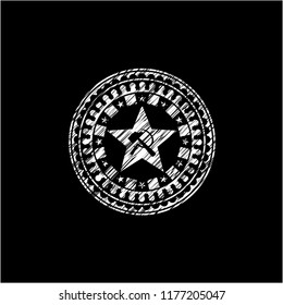 communism icon inside chalk emblem