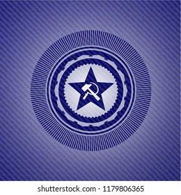 communism icon inside emblem with denim high quality background