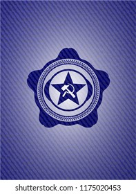 communism icon inside emblem with jean high quality background