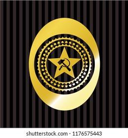 communism icon inside gold badge
