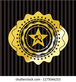 communism icon inside gold emblem or badge