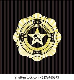 communism icon inside gold shiny badge