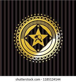 communism icon inside golden emblem