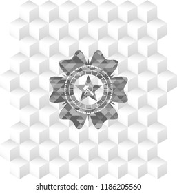 communism icon inside grey emblem. Vintage with geometric cube white background
