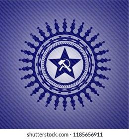 communism icon inside jean or denim emblem or badge background