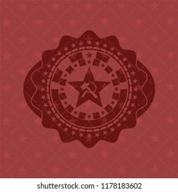 communism icon inside realistic red emblem