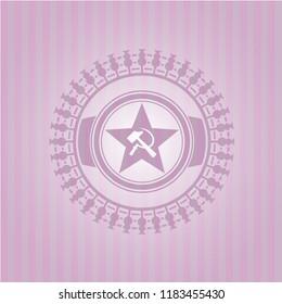 communism icon inside vintage pink emblem
