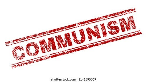 COMMUNISM seal print with corroded texture. Red vector rubber print of COMMUNISM caption with retro texture. Text caption is placed between double parallel lines.