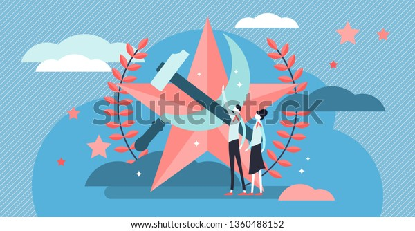 Communism vector illustration. Flat tiny social ideology person concept. Symbolic red star, hummer and sickle power and strength propaganda elements. USSR state government patriotic political movement