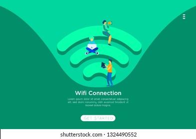 Community 3d Vector Wireless Wi-Fi Free Public zone Hotspot Zone Wireless Internet Isometric People Free Wifi Internet community Connection. 3D People Isometric Vector Devices Icon Wireless WiFi