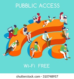 Community 3d Vector Wireless Wi-Fi Free Public zone Hotspot Zone Wireless Internet Isometric People Free Wifi Internet community Connection. 3D People Isometric Vector Devices Icon Wireless WiFi