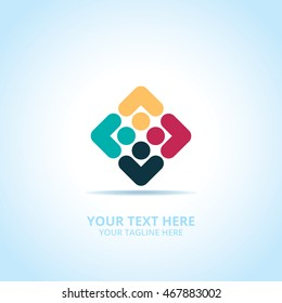 Community abstract emblem, design concept, logo, logotype element for template.
