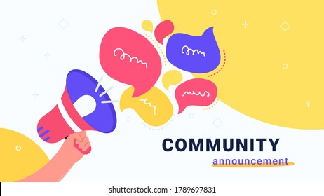 Community announcement with loud megaphone. Flat vector modern illustration of human hand holds red loud-hailer with speech bubbles for community alert in social media. Concept design for promo banner