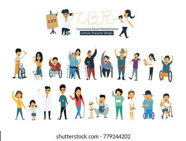 community based rehabilitation team and disability people flat cartoon character design