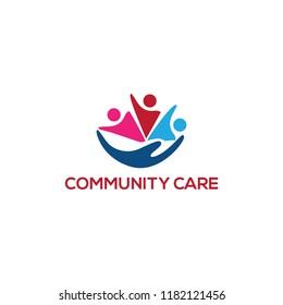 community care logo design, vector illustration