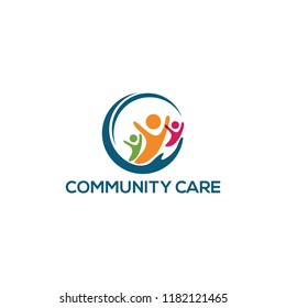 community care logo design, vector illustration