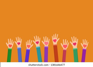Community charitable work symbol flat illustration. Cartoon hands holding hearts on orange background. Charity fund, volunteering, fundraising organization uniting efforts for humanitarian aid