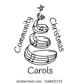 Community Christmas Carols logotype. Hand drawn christmas carol icon with text, vector logotype isolated on white background. Christmas music illustration.