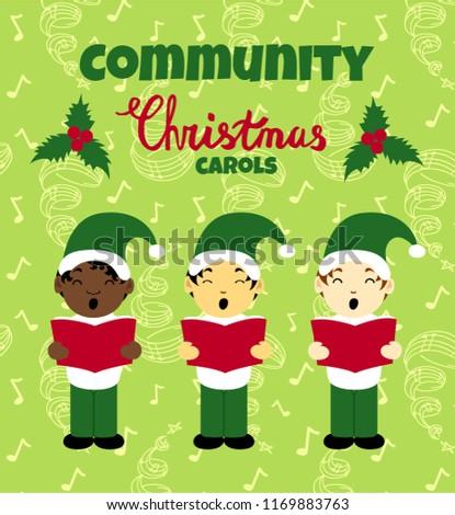 Community Christmas Carols Poster Caroling Multinational Stock ...
