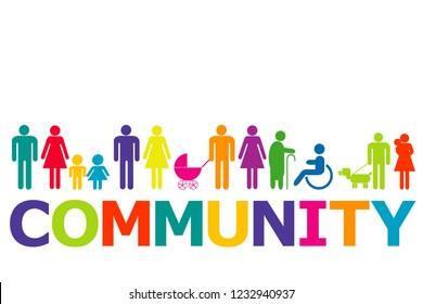 Gemeinschaftskonzept mit farbigen Piktogrammen und Wortgemeinschaften
