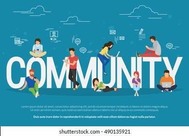 Community concept illustration of young people using mobile gadgets such as smarthone, tablet and laptop as part of internet community. Flat design of student guys and young women on letters symbols