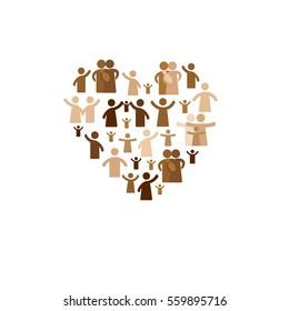 Community concept - pictogram showing figures happy family