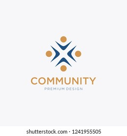 Community, crowd, group, forum, social, people, creative. Vector logo template, Community Logo Template Design Vector,  Community Logo Icon Elements Template.