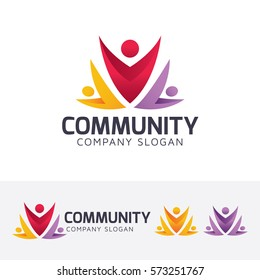 Community, crowd, group, forum, social, people, creative. Vector logo template