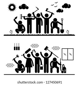 Community Effort People Humanity Volunteer Group Cleaning Outdoor Park Indoor House Stick Figure Pictogram Icon