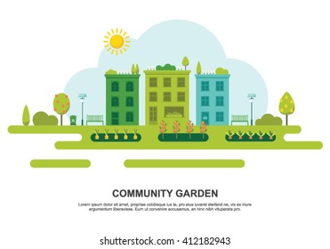 Community garden concept flat vector illustration on white background