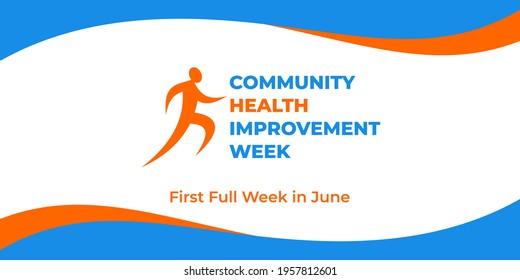 Community health improvement week. Vector web banner, social media, poster, card, flyer. Text Community health improvement week, first full week in june. Logo figure of running man, white background.