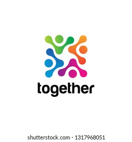Community human social, unity, together, connection, relation logo design template.