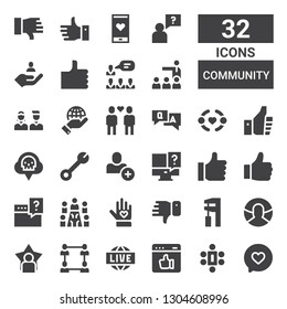 community icon set. Collection of 32 filled community icons included Like, Meeting, Live, Network, User, Wrench, Dislike, Voluntary, Question, Add user, Co, Thumbs up, Friendship