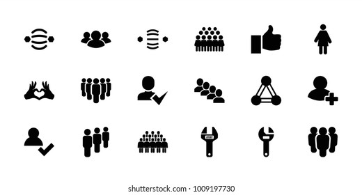 Community icons. set of 18 editable filled community icons: connection, group, wrench, add user, woman, atom interaction, heart tag, thumb up