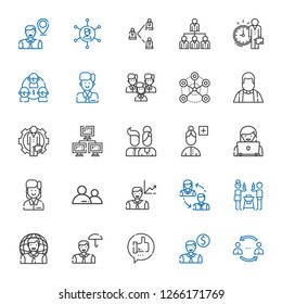 community icons set. Collection of community with network, employee, like, user, friends, employees, add user, users, priest, team, networking. Editable and scalable community icons.