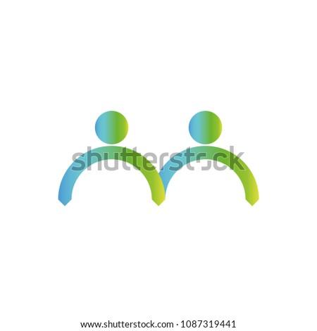 Community Logo Couple Silhouette Human Figures Stock Vector Royalty