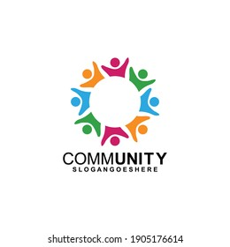 Community logo icon design with colorful people in a circular shape. Symbol of teamwork, solidarity human concept vector illustration, company branding, discussion forum, social network, team