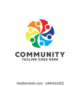 Community Logo For Leadership Design With Colorful Circle Society Style Concept. Teamwork Logo Company with Modern Shape and Connection Creative Symbols Concept. Icon for Business and Corporate.