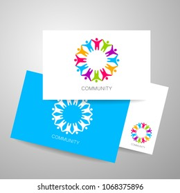 Community Logo Symbol. Concept for teamwork, social relationship logotype, business training, partnership, seminar,  network.