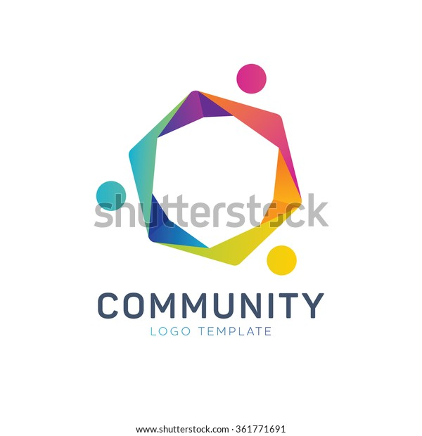 Community Logo Teamwork Logo Social Logo Stock Vektorgrafik