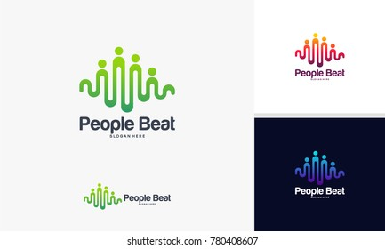 community logo template designs vector illustration, People Beat logo
