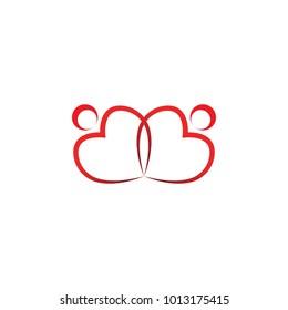 Community of love logo design template vector