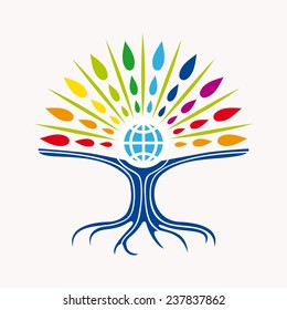 Community manager education world tree concept with colorful abstract leaves and earth icon illustration. EPS10 vector file organized in layers for easy editing.