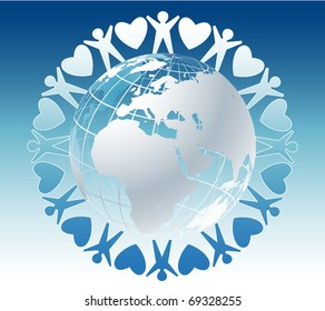 Community of people joined around the globe with hearts