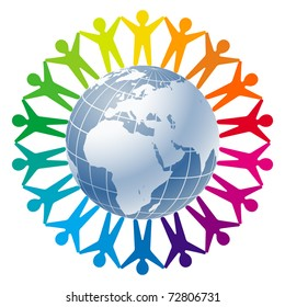 Community of people joined around the globe. Logo for Business, Technology, Corporation.