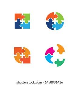 Community puzzle Logo template vector